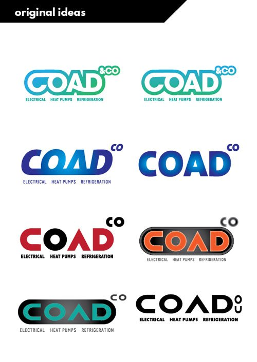 logo design stage 1 concepts for COAD from She Rocks Digial