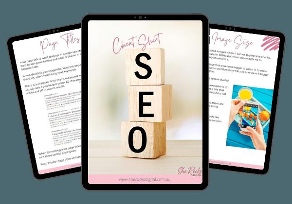 seo cheat sheet landing page with she rocks digital hobart